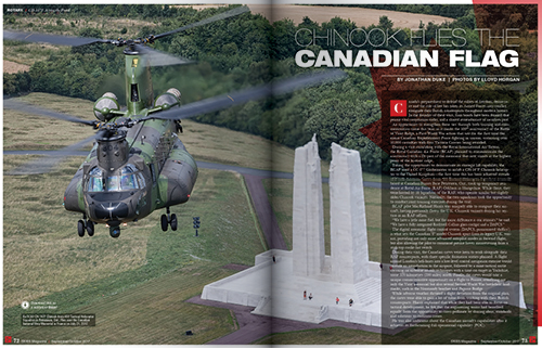 CHINOOK FLIES THE CANADIAN FLAG