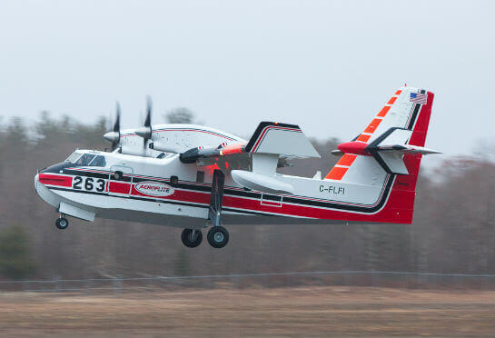 The final Bombardier 415 was built for American operator AeroFlite. It is seen departing Muskoka Aircraft Refinishing's paint shop at Little Norway Memorial Airport on Dec. 5, 2015. Andy Cline Photo