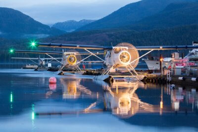 Harbour Air DHC-2 Beavers warm up their engines prior to departure at first light on Jan. 14, 2016, in Sechelt, B.C.