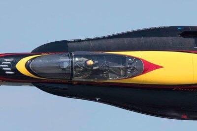 In-air closeup of CF-18 Demo Hornet pilot Ryan