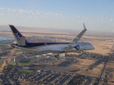 The MRJ, in flight.