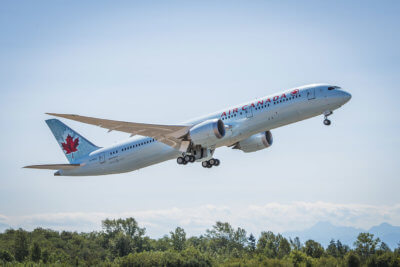 Air Canada 787-9 Dreamliner in flight.