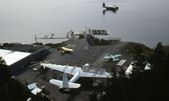 An aerial view of the Forest Industries Flying Tankers base at Sproat Lake, B.C., in 1992. Larry Milberry Photo