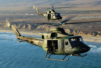 CH-146 Griffons returns from a gunnery mission
