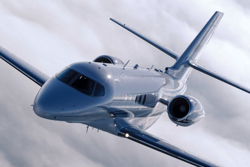 Citation Latitude, in flight