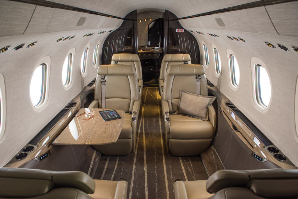 Inside the cabin of the Citation Latitude