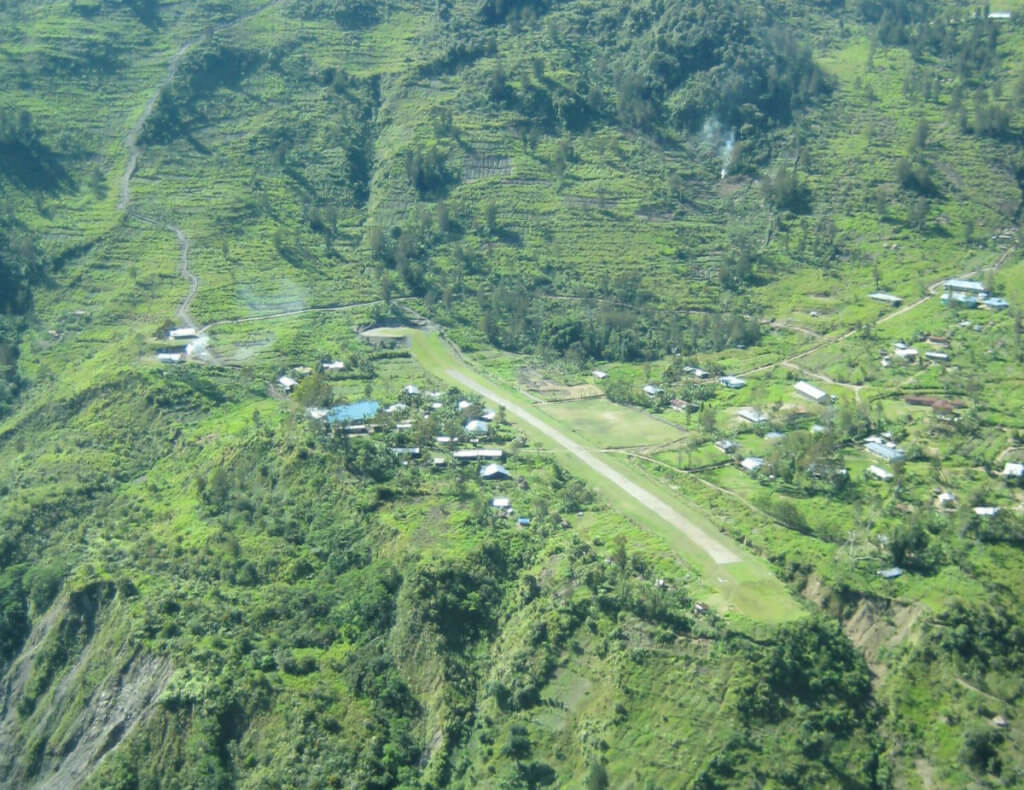 The Anggruk airstrip in the highlands of Papua, Indonesia
