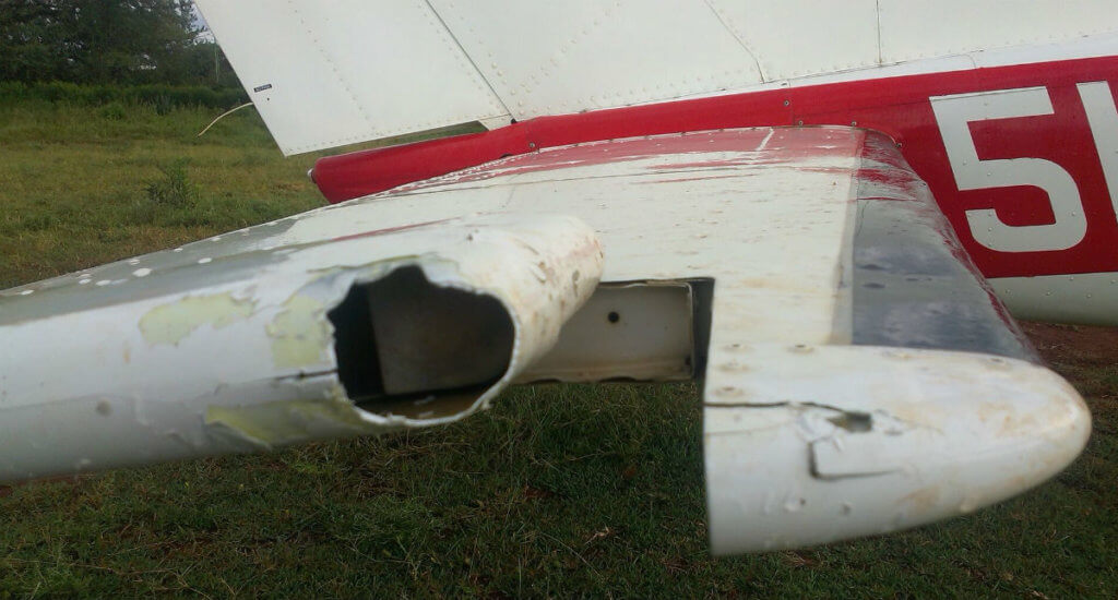 Tanzanian hyenas gnawed a large hole in this Cessna 206 elevator