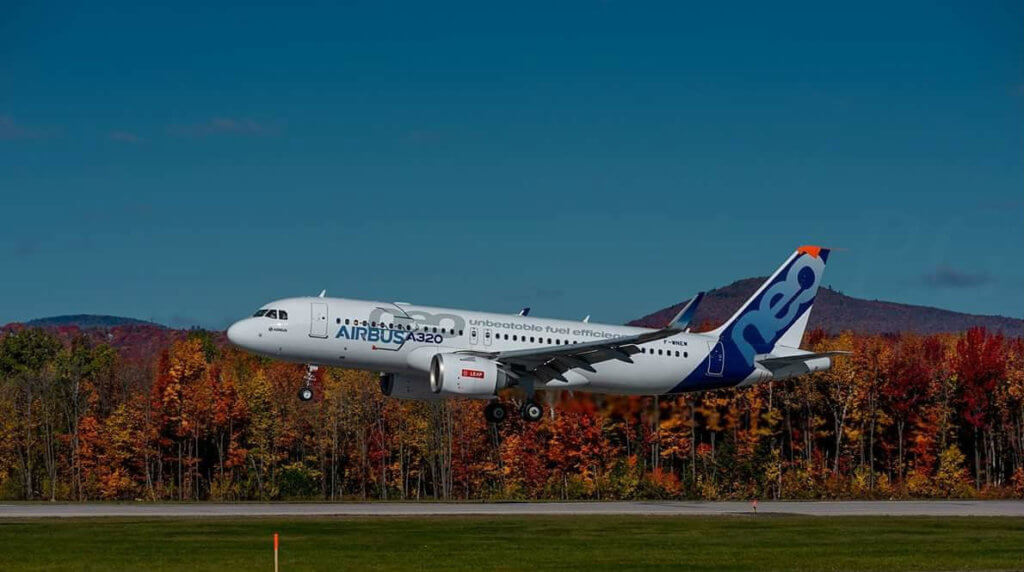An Airbus A320neo at Quebec City Jean Lesage International Airport en route to Mexico to conduct tests for certification of the CFM engines. Pierre Gauthier Photo