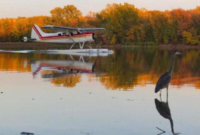 A float plane lands at Marina Venise, Ste-Rose, Laval, Quebec