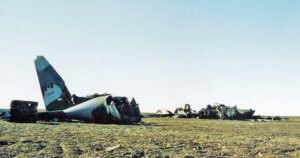 The crashed Boxtop 22 Hercules aircraft rests on the Arctic tundra to this day