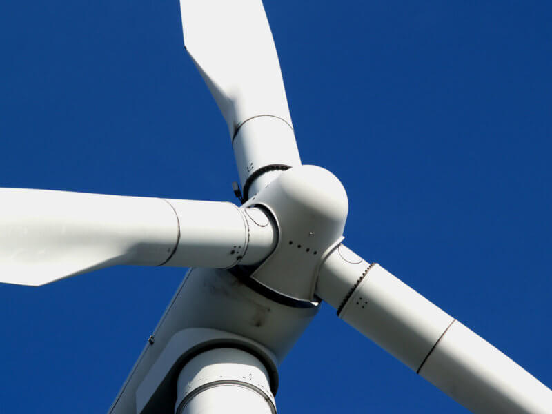 Closeup of wind turbine