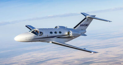 Textron Aviation Inc. recently completed certification for automatic dependent surveillance–broadcast Out (ADS-B Out) on the Citation Mustang. Textron Photo