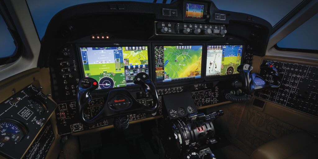 Touchscreen simplicity comes to the King Air flight deck with the addition of the Rockwell Collins Pro Line Fusion avionics system. Among its features are intuitive graphical flight planning, high-res synthetic vision, a multi-sensor flight management system, and integrated touchscreen checklists. Textron Photo