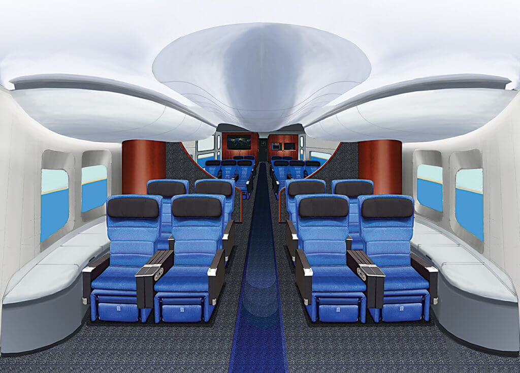 The LMH-1 passenger seating layout features 19 seats with galley and lavatory.