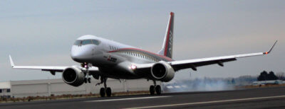 The fourth flight test aircraft (FTA-4) of the MRJ took off from Nagoya Airfield at 9:35 a.m. on Nov. 15 (JST), and arrived at Grant County International Airport in Washington at 6:46 a.m. on Nov. 19 (JST), (1:46 p.m. local time on Nov. 18). Mitsubishi Aircraft Corporation Photo