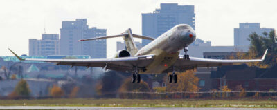 The Global 7000 flight test vehicle took off from Bombardier's facility in Toronto under the command of Capt Ed Grabman, assisted by his co-pilot, Jeff Karnes and flight test engineer Jason Nickel under clear conditions at 10:25 a.m. EST. Andy Cline Photo