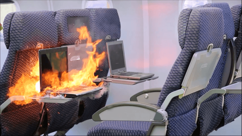 Laptops, cellphones and tablets powered by lithium batteries are increasingly common on both airline (pictured) and business aviation flights. Their ability to overheat and catch fire is raising safety concerns. PlaneGard Photo