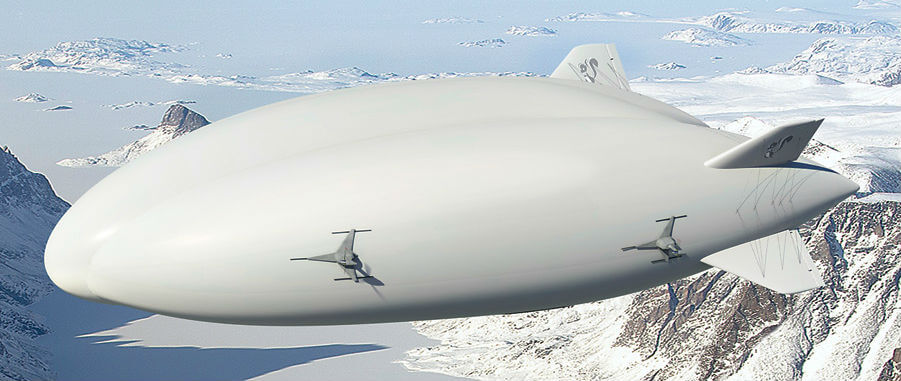 "Nicknamed ""ferry boats of the sky,"" airships have huge potential in the Canadian North, where they could regularly deliver passengers, supplies and services to isolated areas. The LHM-1 can operate from unimproved landing zones, on ice, or on water. Images courtesy of Lockheed Martin"