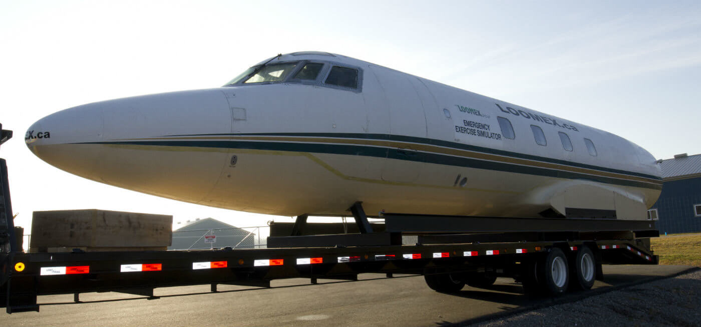 Designed to test emergency response capabilities at airports large and small, the new portable business jet crash site simulator was specially constructed from an actual Lockheed JetStar fuselage obtained from neighbouring aircraft services provider Flying Colours Corp. Loomex Group Photos