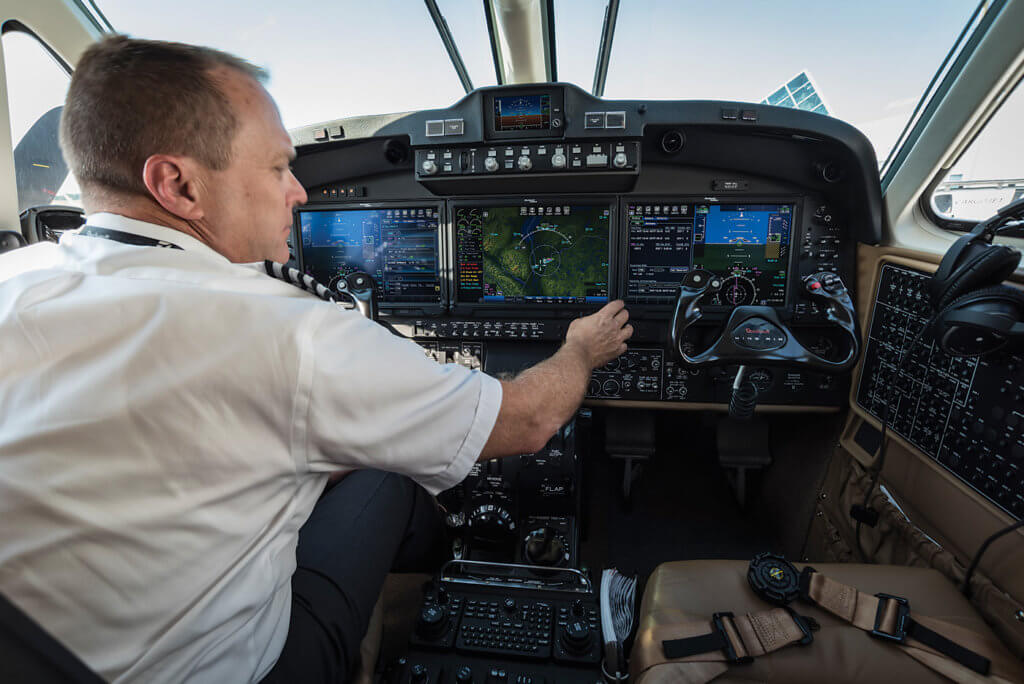 The displays are supplemented by a cursor control panel for each pilot and a QWERTY keyboard. Peter Handley Photo