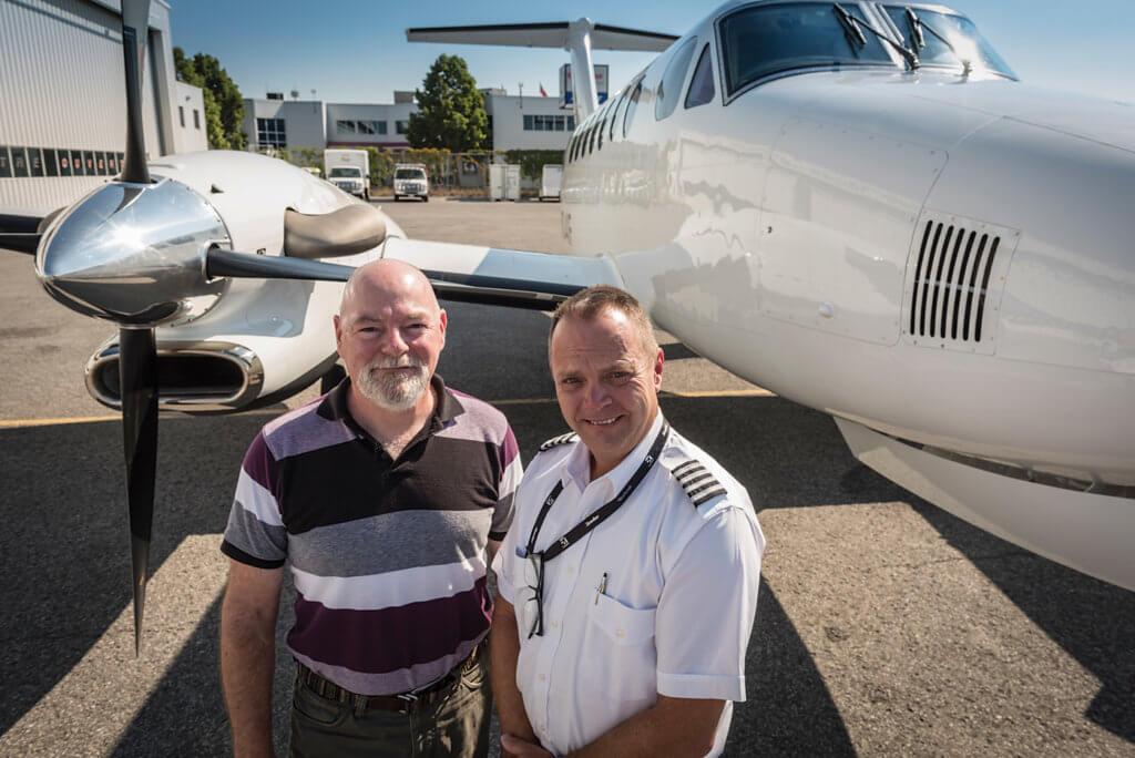 Test pilot Rob Erdos, left, with Textron demo pilot Nathan Schrag. Peter Handley Photo