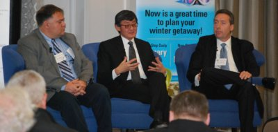 Chris Wood, left, general manager of the Region of Waterloo International Airport, sits with Howard Eng, president and CEO of the Greater Toronto Airports Authority and Tony LaMantia, president and CEO of the Waterloo Region Economic Development Corporation in a panel discussion in Kitchener, Ont., on Nov. 15, 2016