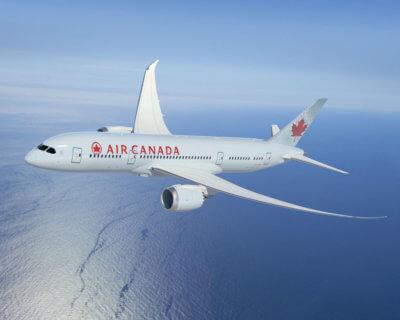 Air Canada plane in flight.