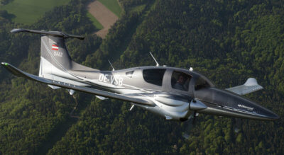 Under the agreement, production of Diamond's twin-engine DA62 (shown here) and the single-engine DA40 will transition from Austria to Canada by the end of 2017. Diamond Aircraft Photo