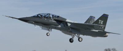 During the 55-minute flight, lead T-X test pilot Steven Schmidt, and chief pilot for Air Force programs Dan Draeger, who was in the seat behind Schmidt, validated key aspects of the single-engine jet and demonstrated the performance of the low-risk design. Boeing Photo
