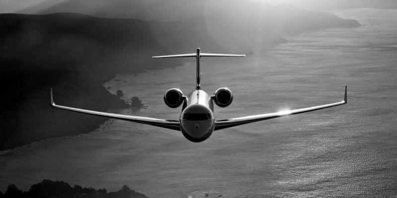 Bombardier plane in flight