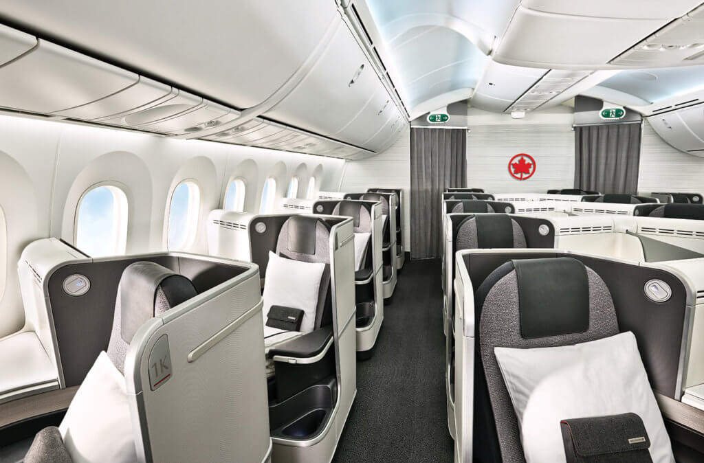 The international business cabin includes executive pods that can be adjusted to an 80-inch, fully lie-flat bed.