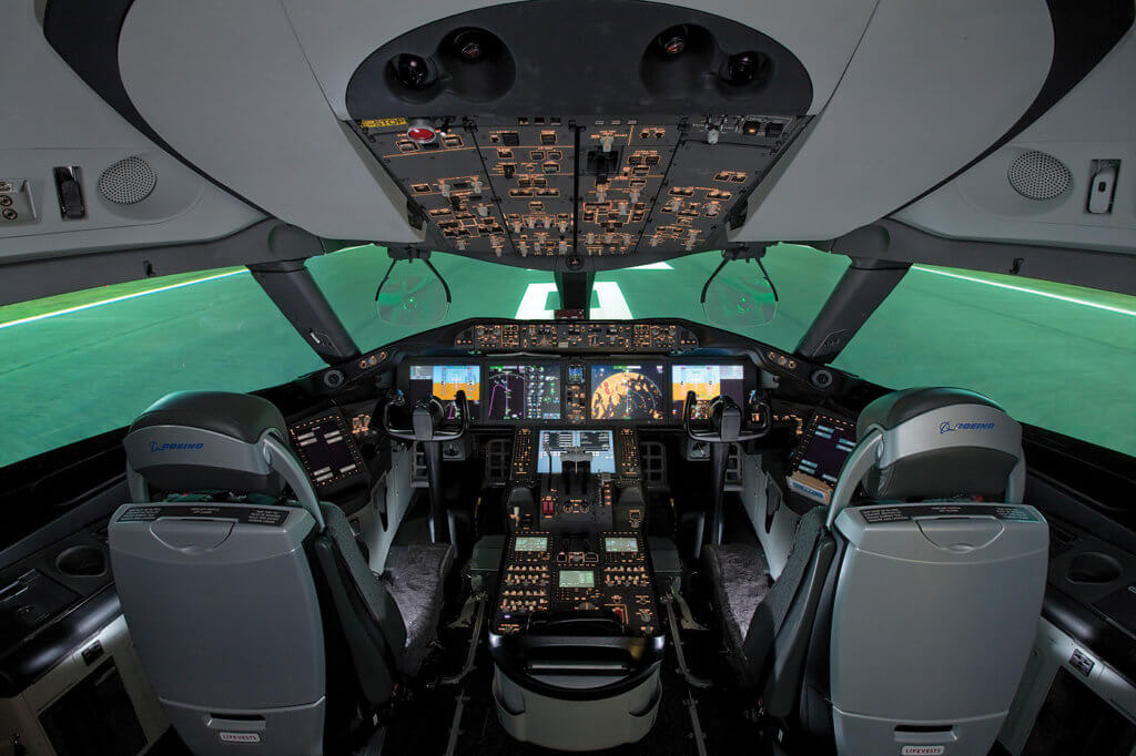 The 787 Dreamliner cockpit features new technology while maintaining commonality with other Boeing airliners, particularly the 777. Five multi-function displays give pilots more information and significant flexibility to customize the information they need.