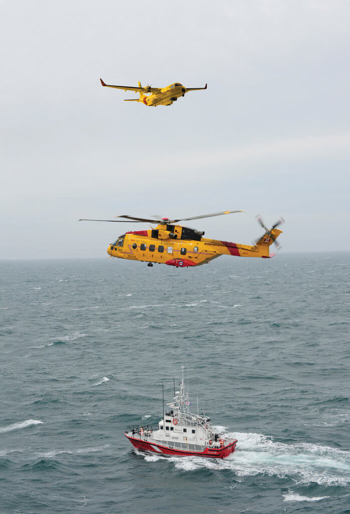Using computer modelling, the C295W was assessed against more than 7,000 search and rescue incidents to which the RCAF has responded in the past five years. The new aircraft and the RCAF's other SAR assets, including the reliable CH-149 Cormorant helicopter (shown here), will cover Canada's 18 million squarekilometre area of responsibility. Mike Reyno/Airbus Photo