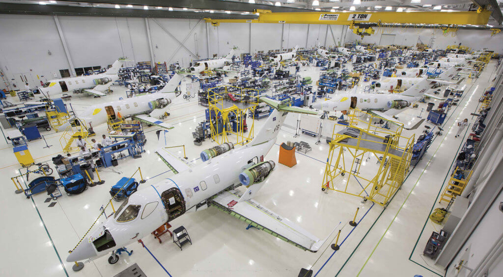 The HondaJet production line currently produces two to three aircraft per month, but the facilities evidently have far greater capacity.