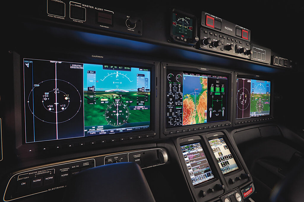 The Garmin G3000 avionics suite is a good fit for the HondaJet's tidy and functional cockpit.