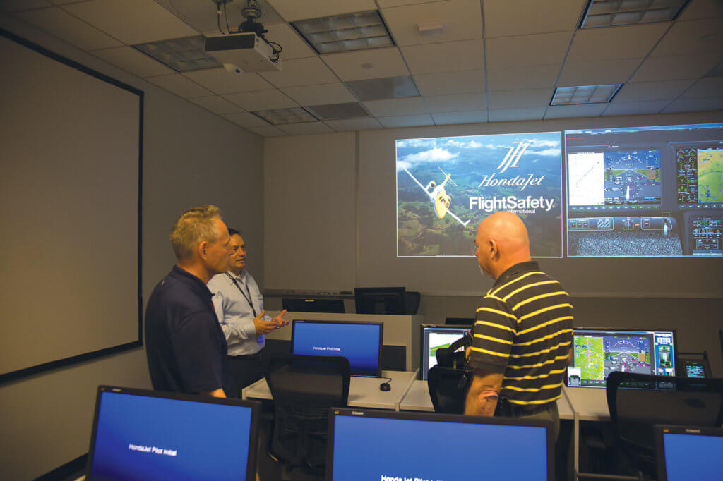 FlightSafety International's state-of-the-art facilities include a fixed-base avionics trainer, computer-equipped classrooms and extensive training aids.
