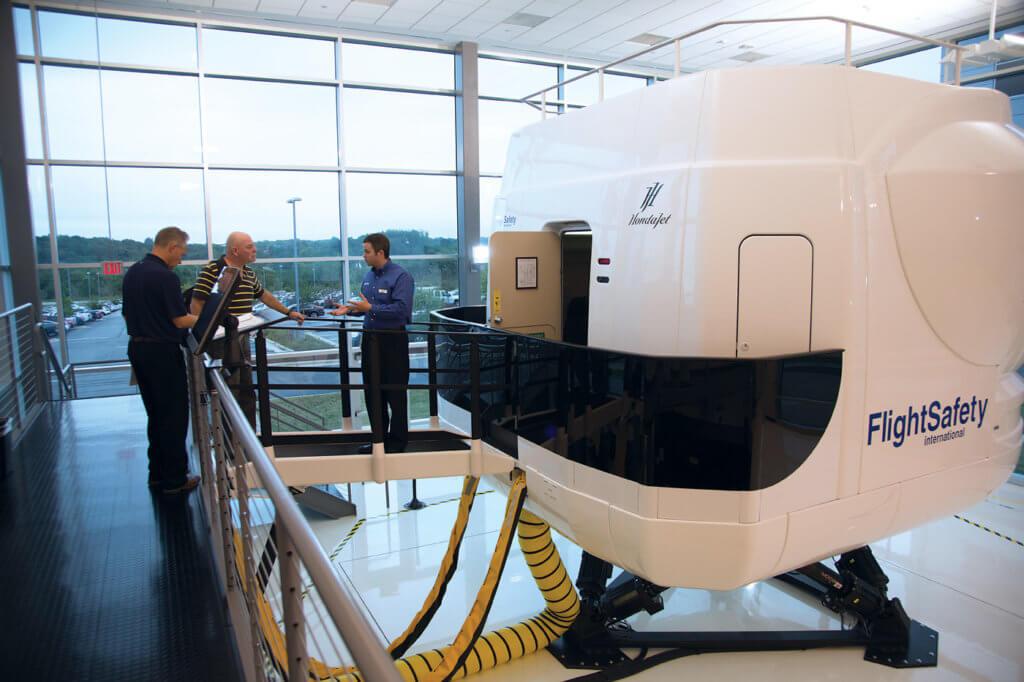 FlightSafety International's Level D flight simulator awaits new HondaJet pilots in Greensboro, N.C.