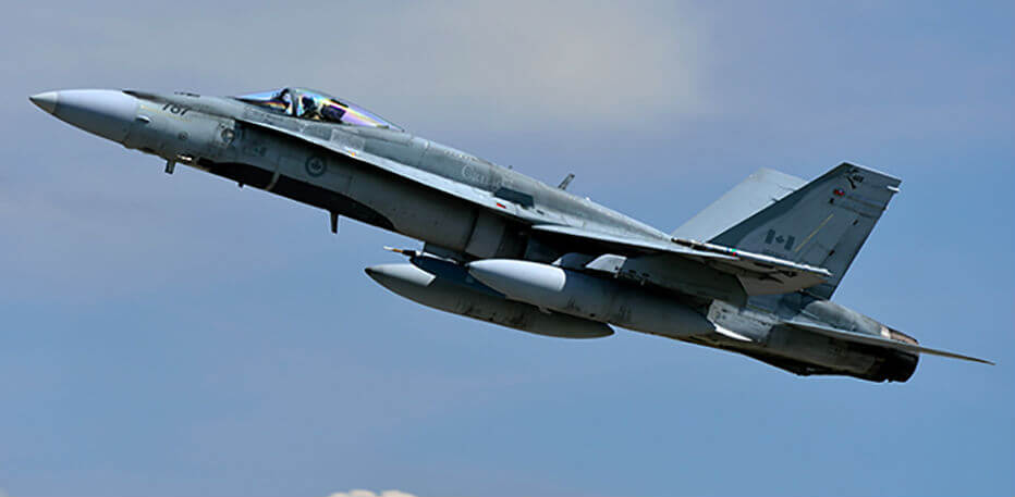 An RCAF CF-188 Hornet fighter aircraft takes off during Exercise Maple Flag 2013, held at 4 Wing Cold Lake, Alta. CF-188 Hornets from 4 Wing and from 3 Wing Bagotville, Que., will participate in Maple Flag 50. RCAF Photo