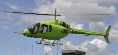 Bell Helicopter unveiled the first completed model of the 505 Jet Ranger X at its Mirabel, Que., factory on Feb. 9, 2017. Here, the new helicopter is seen undergoing testing outside the Mirabel plant. Kenneth I. Swartz Photo