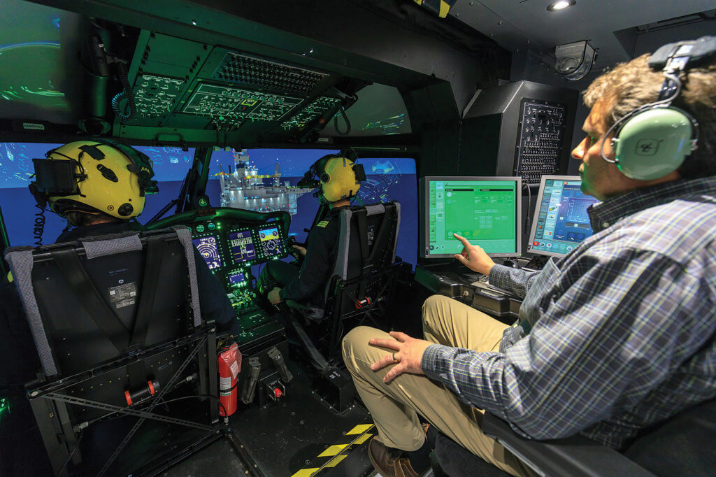 Cougar Helicopters is the centre's major customer. The cockpit of the simulator is an almost exact replication of Cougar's search and rescue Sikorsky S-92--down to the registration C-GIKN appearing on the name plate on the simulator's dash.