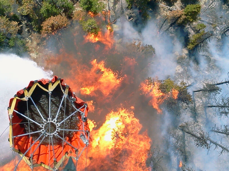 Bambi Bucket used to douse flames