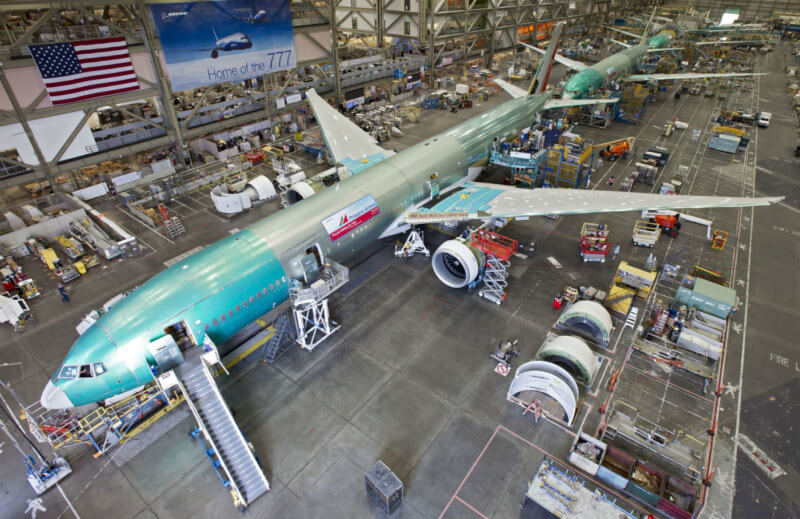 The mix of fresh aircraft slated to come off Boeing's well-established production lines are designed to fit a 20-year market forecast that projects a global demand for over 38,000 new airplanes. Here, a Boeing 777 sits on the production line in Everett, Washington. Boeing Photo
