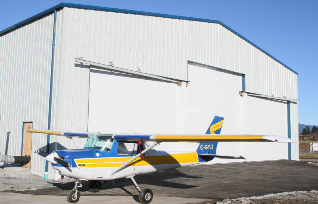 Dale Floyd's new building has a floor area measuring 80 x 75 feet with a 20-foot high door, so it can accommodate a Twin Otter with room to spare. Shop and office space are on the main floor with the possibility of adding a second floor as required. Gary Watson Photo