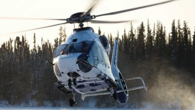 The H160 was ferry flown to the cold weather testing site in Yellowknife, Northwest Territories, in December 2016, and began flight trials in the first week of January. Jerome Deulin Photos