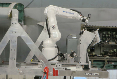 In 2010, L3 MAS delivered a robotic tooling solution to Finland that established a modification and repair line for F/A-18 inboard leading edge flap hinges. L3 Photo