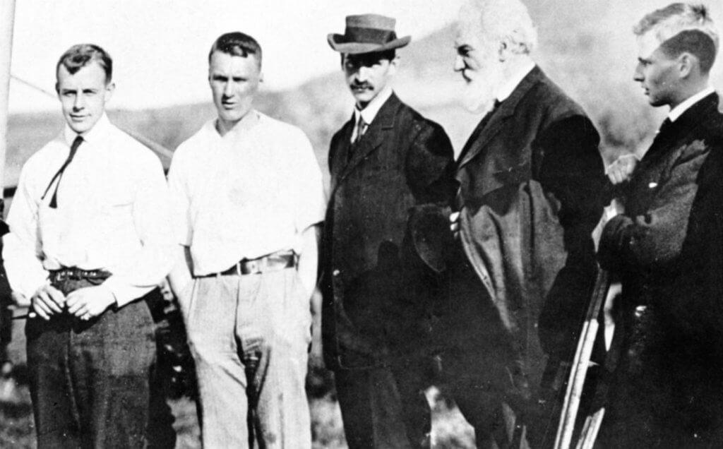 Members of the Aerial Experiment Association at Hammondsport: Casey Baldwin, Thomas Selfridge, Glenn H. Curtiss, Alexander Graham Bell and J.A.D. McCurdy. Photos courtesy of Larry Milberry