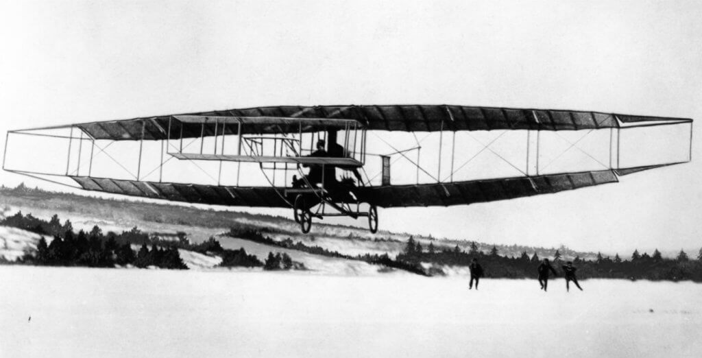 The Silver Dart gets airborne on Canada's first powered airplane flight. Photo courtesy of Larry Milberry