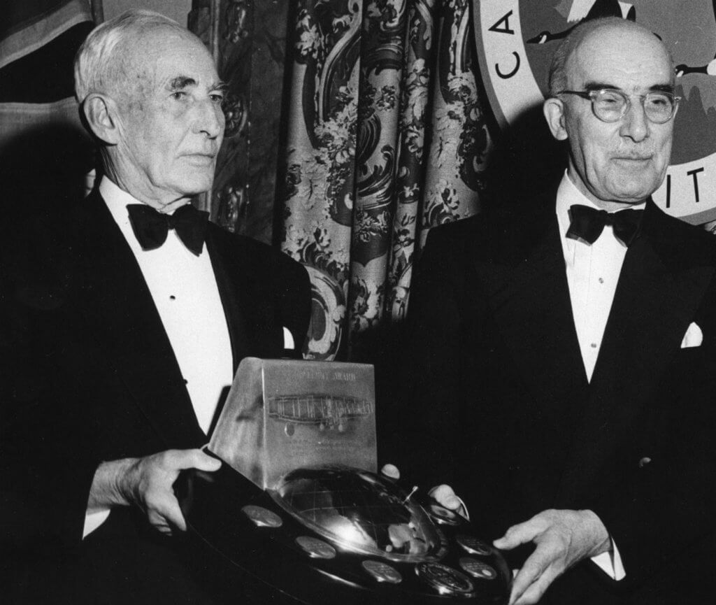 In 1954 the Institute of Aircraft Technicians (long since merged into today's Canadian Aeronautics and Space Institute) created the McCurdy Award for outstanding achievement in the science and creative aspects of engineering in aeronautics. Here, J.H. Parkin (right) of Canada's National Research Council accepts the 1956 award from J.A.D. McCurdy. In 1964 Parkin authored the definitive history of all the aeronautical research done under Alexander Graham Bell. Photo courtesy of Larry Milberry
