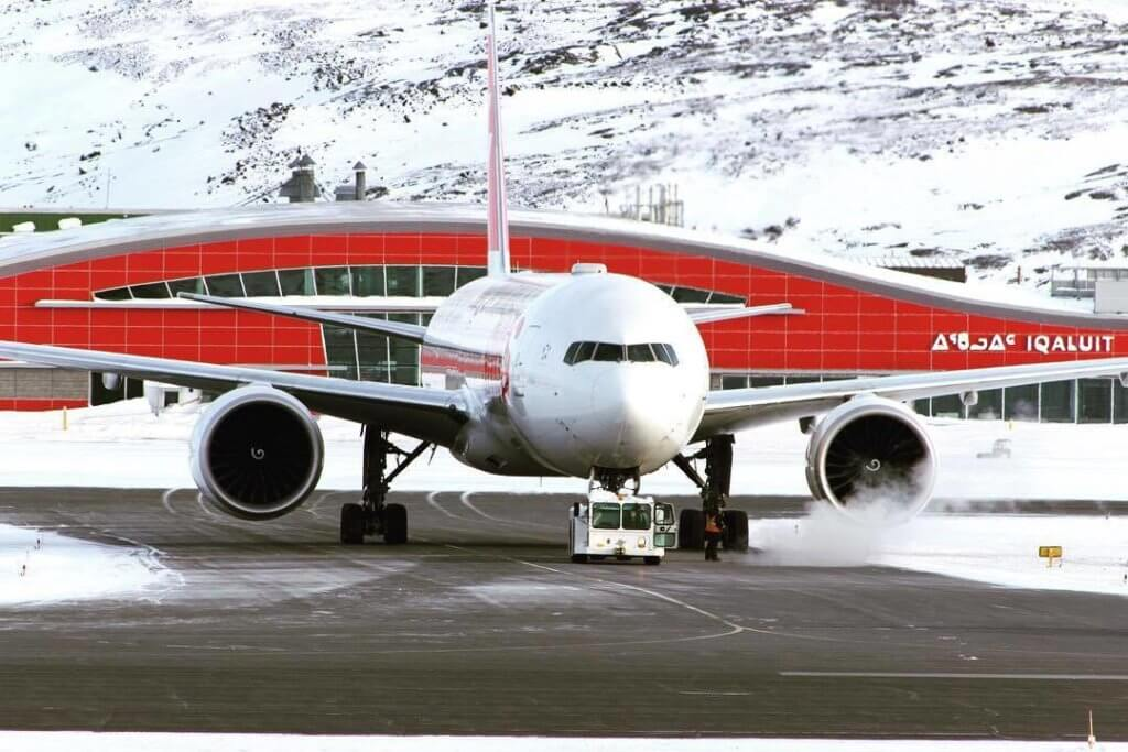 A SWISS Boeing 777-300ER is towed to conduct engine runs after a new engine was installed during an emergency stop in Iqaluit recently. Photo submitted by Brian Tattuinee